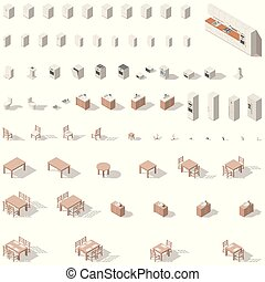 Kitchen and bathroom low poly isometric icon set