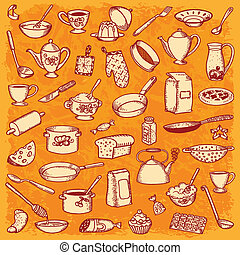 Kitchen And Cooking Doodle Vector - Kitchen And Cooking...