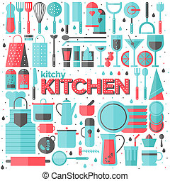 Kitchen and cooking utensils flat illustration - Flat icons ...
