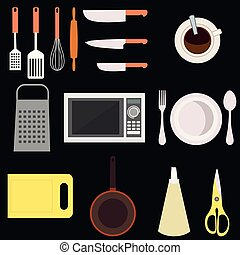Kitchen and cooking workplace.Isolated vector flat illustrations