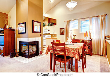 Kitchen and dining room. Open plan design idea