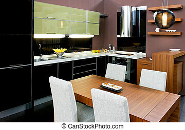 Kitchen and dinning - Contemporary kitchen with brown...