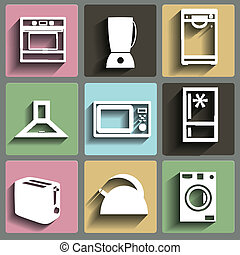 Kitchen and house appliances icons set