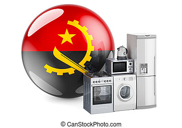 Kitchen and household appliances with Angolan flag. Production, shopping and delivery of home appliances in Angola concept. 3D rendering