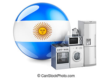 Kitchen and household appliances with Argentinean flag. Production, shopping and delivery of home appliances in Argentina concept. 3D rendering