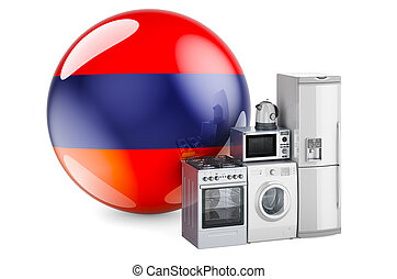 Kitchen and household appliances with Armenian flag. Production, shopping and delivery of home appliances in Armenia concept. 3D rendering