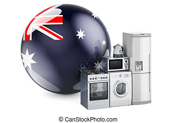 Kitchen and household appliances with Australian flag. Production, shopping and delivery of home appliances in Australia concept. 3D rendering