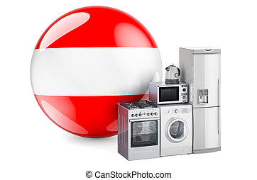 Kitchen and household appliances with Austrian flag. Production, shopping and delivery of home appliances in Austria concept. 3D rendering