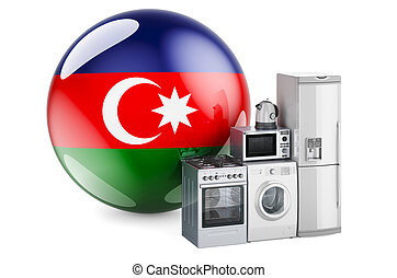 Kitchen and household appliances with Azerbaijani flag. Production, shopping and delivery of home appliances in Azerbaijan concept. 3D rendering