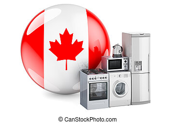 Kitchen and household appliances with Canadian flag. Production, shopping and delivery of home appliances in Canada concept. 3D rendering