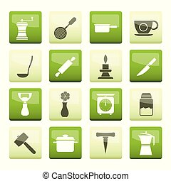 Kitchen and household tools icons over green background