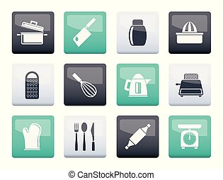 Kitchen and household Utensil Icons over color background