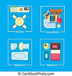Kitchen and Living Room Set Vector Illustration