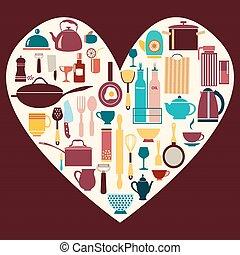 kitchen and restaurant icon kitchenware set