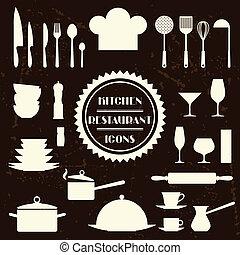 Kitchen and restaurant icons. Set of utensils.