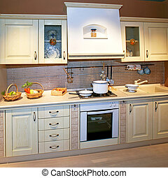 Kitchen angle - Vintage style kitchen counter with food ...