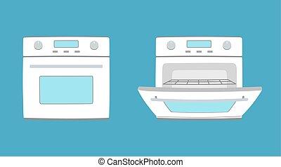 Kitchen appliance oven illustration. Oven in flat style....