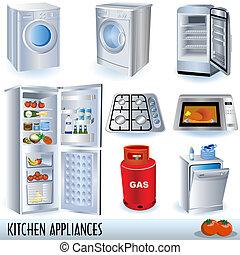 Kitchen Appliances - Set of nine kitchen appliances... and...