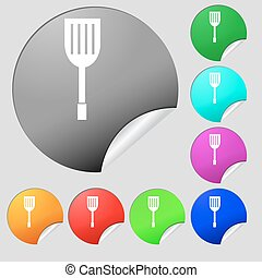 Kitchen appliances icon sign. Set of eight multi colored round buttons, stickers. Vector