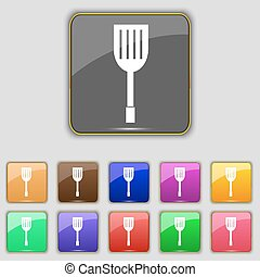 Kitchen appliances icon sign. Set with eleven colored buttons for your site. Vector