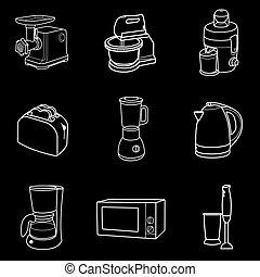 Kitchen appliances icon white