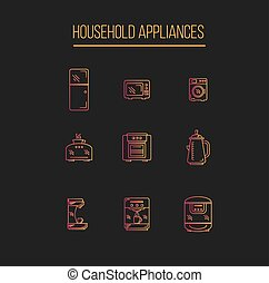 Kitchen Appliances icons set