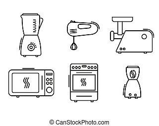 kitchen appliances icons set line art vector icon on white background