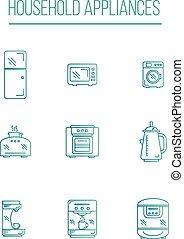 Kitchen Appliances icons white background