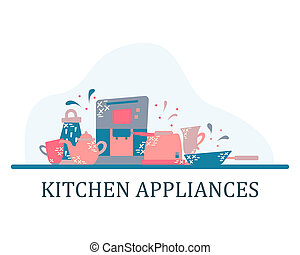 Kitchen appliances in the flat style with doodles. Utensils for cooking. Isolated