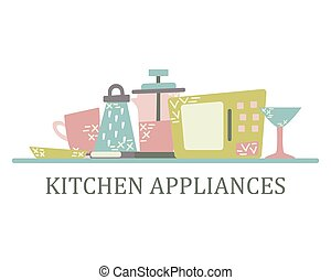 Kitchen appliances in the flat style with doodles. Utensils for cooking. Isolated vector
