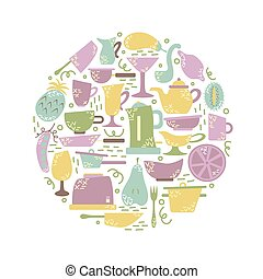 Kitchen appliances in the flat style with doodles. Utensils for cooking. Round shape.