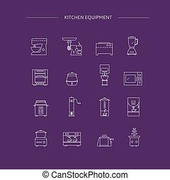Kitchen appliances line icon set.