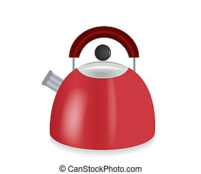 Kitchen appliances. Red Electric kettle. Vector Illustration.