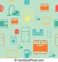 kitchen appliances seamless pattern background