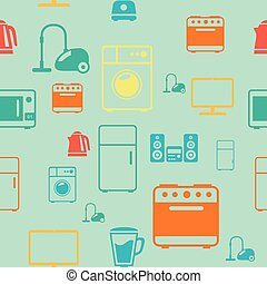 kitchen appliances seamless pattern background