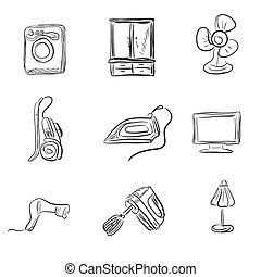 Kitchen appliances, sketch style