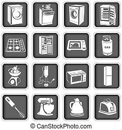 kitchen appliances. - Collection of different kitchen...