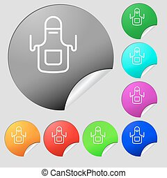 Kitchen apron icon sign. Set of eight multi colored round buttons, stickers. Vector