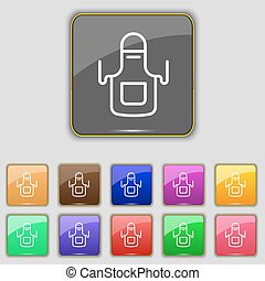 Kitchen apron icon sign. Set with eleven colored buttons for your site. Vector