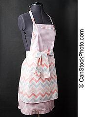 kitchen apron on black background