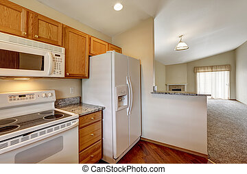Kitchen area in empty house