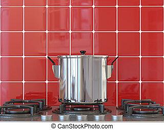 Kitchen background, pot on gas stove