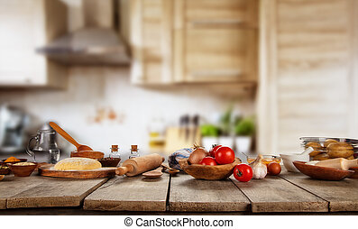 Kitchen Baking and cooking ingredients placed on wooden table