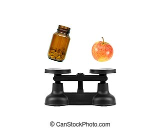Kitchen Balance Scales - Kitchen balance scales isolated...