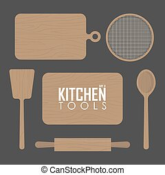 kitchen boards and  wood tool vector illustration