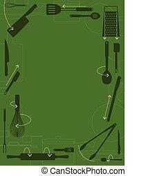 Kitchen border - Kitchen utensils with directional arrows...