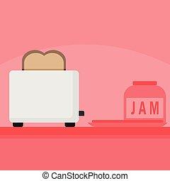 Kitchen Bread Toaster Home Scene Illustration