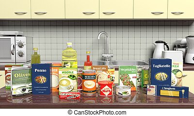Kitchen cabinet closeup with grocery products on worktop