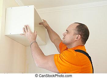 Kitchen cabinet installation work - Craftsman carpenter at...