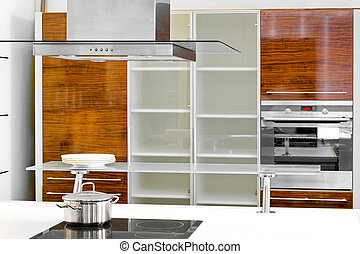 Kitchen cabinet - Interior of wooden kitchen with modern...